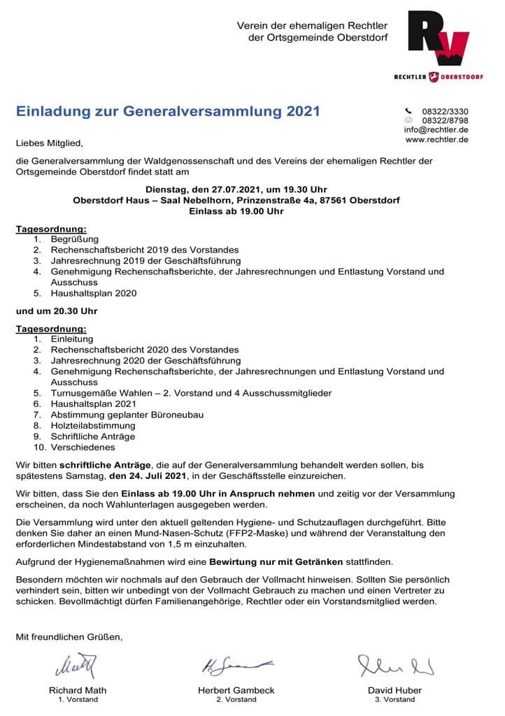 Einladung Generalversammlung 2020 und 2021